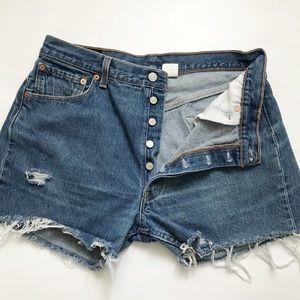 Levi's   501 Button fly high waist cut off shorts